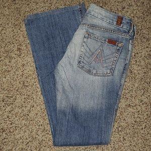7FAM light wash flared A pocket jeans